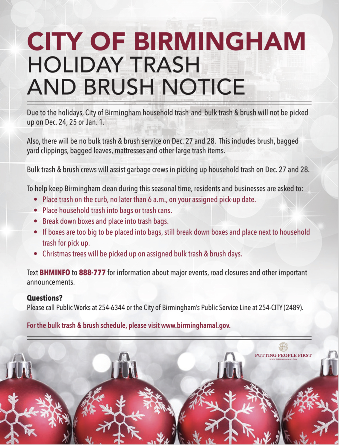 Christmas Holiday Schedule For Trash Pickup 2020 Holiday Brush and Trash Pick Up Schedule « The Official Website